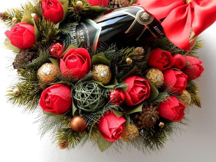 Корзина конфет с шампанским. Новый год. Оформление подарка