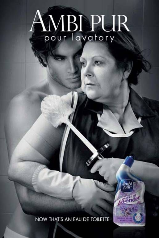 Hilarious toilet-cleaner ad playing off perfume ads.