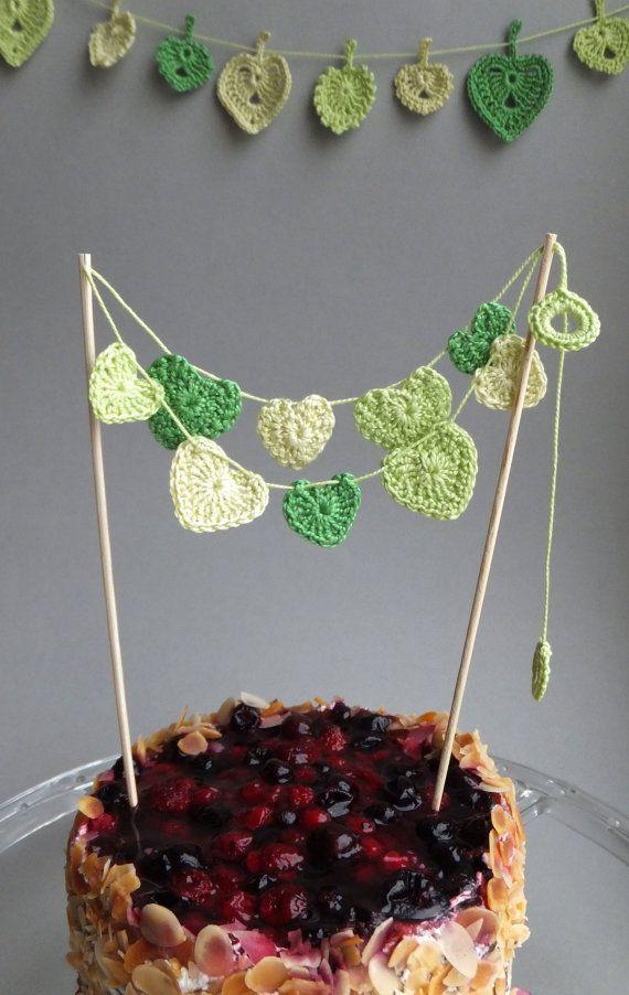 Crocheted hearts cake topper spring Wedding cake by MadeByElina