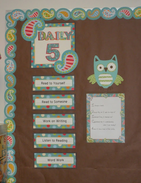 Turquoise and Paisley go so well with this cute little owl.  Here's a Daily 5 board.