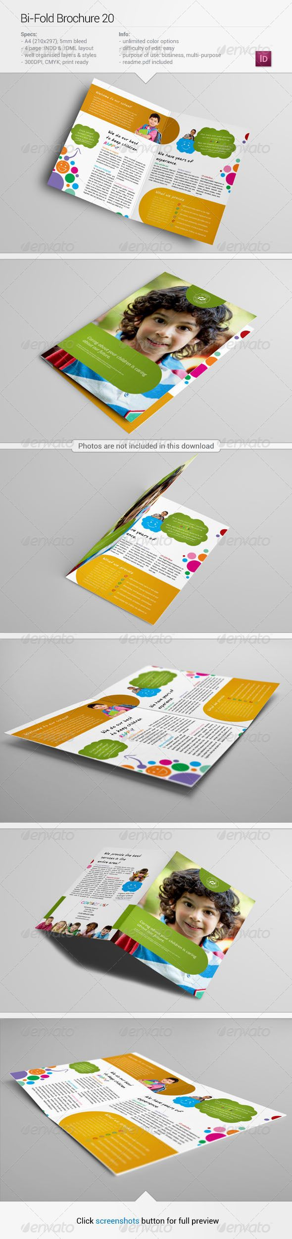 About this item Specifications: + 420×297mm (2x A4), + 300 dpi, + CMYK, + Bi-fold, + Unlimited color options, + 5mm bleeds, + Well organised layers, + Fully editable InDesign .INDD and .IDML files, + Photos and fonts are NOT included (links below and in Read Me file). 	 Fonts used: Roboto –  .fontsquirrel /fonts/roboto Open Sans –  .fontsquirrel /fonts/bebas-neue jr!hand-  .fontsquirrel /fonts/jr