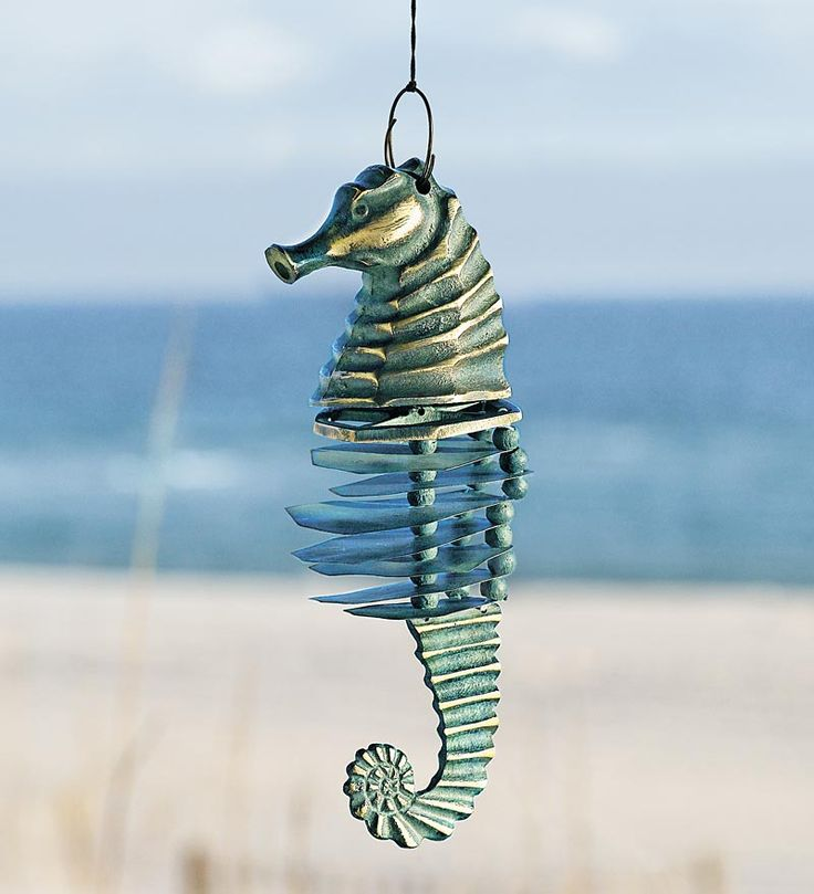 Seahorse wind chime nautical patio accent for Colored porcelain koi fish wind chime