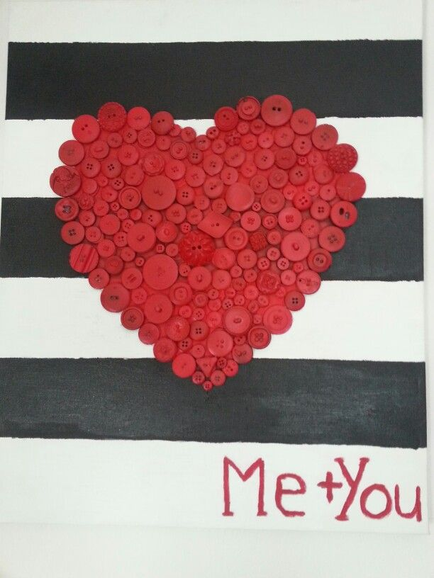 Striped button heart painted canvas