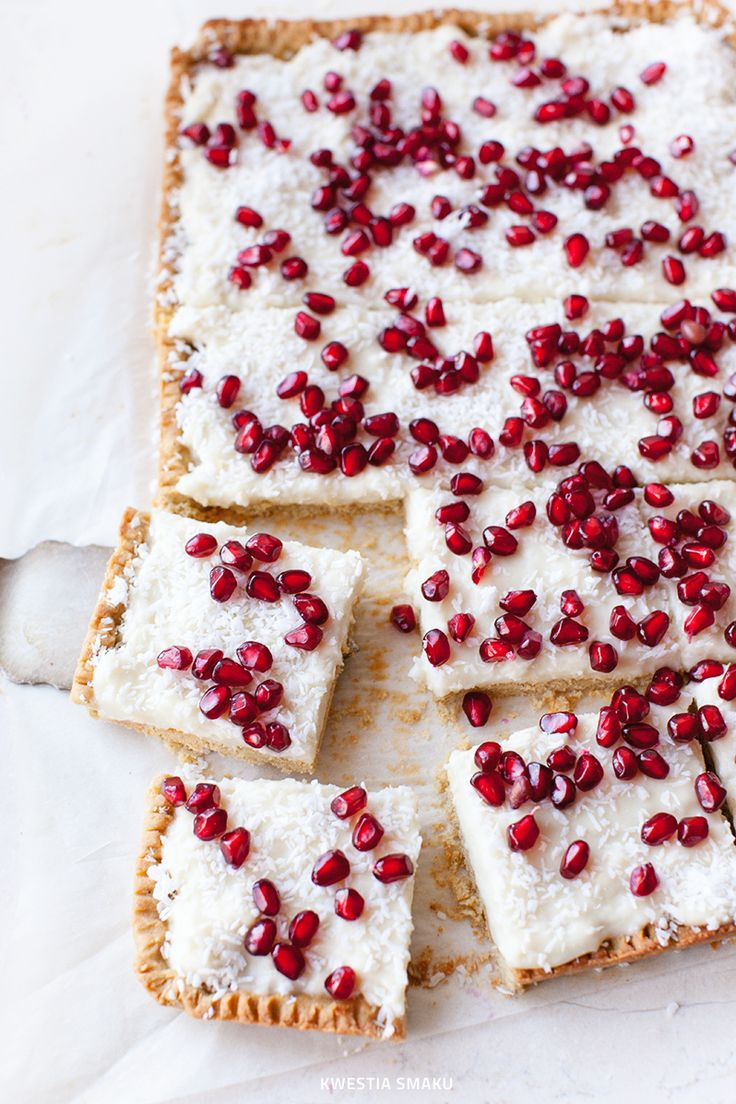 mazurek with millet flour, ground coconut & pomegranate
