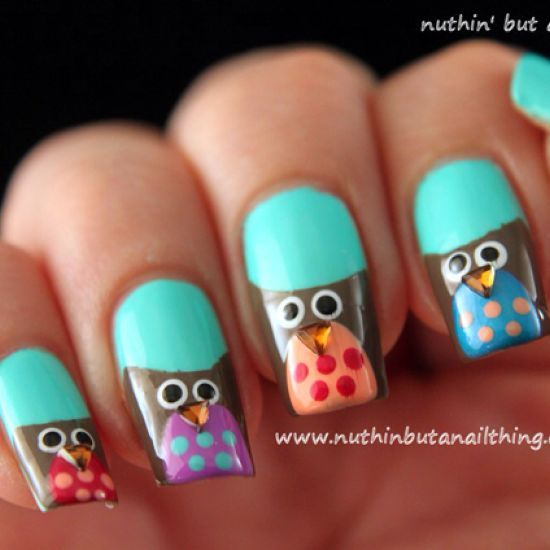 How to create owl nail art via @Guidecentral - Visit www.guidecentr.al for more #DIY #tutorials