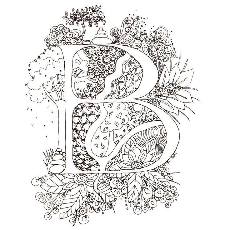 Monogram, Initial, Colour-Me-In Illuminated Letters - B, original art  drawings by melanie j cook. $5.00, via Etsy.