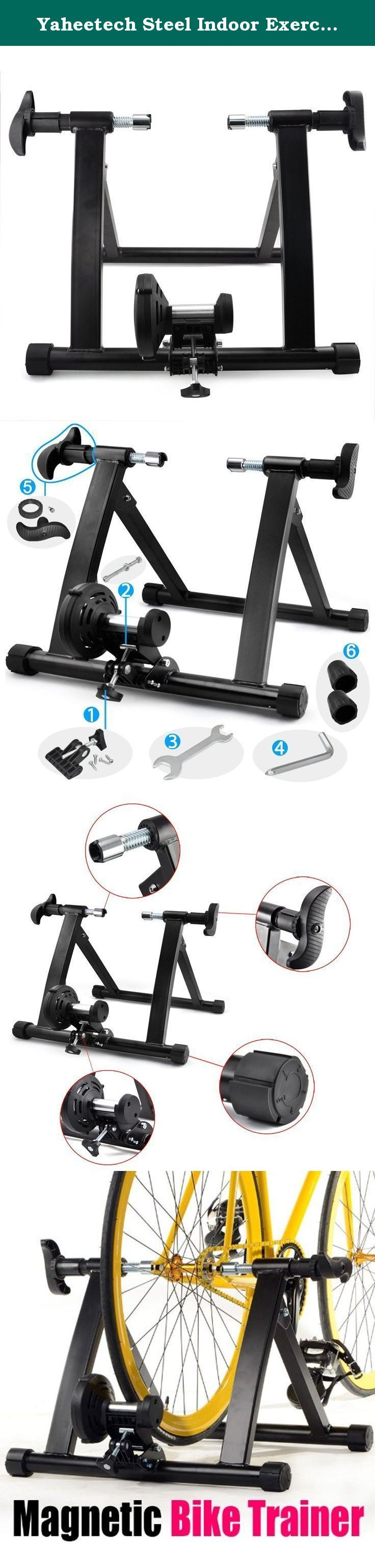 """Yaheetech Steel Indoor Exercise Bike Bicycle Trainer Stand Fit for bicycles with a wheel of 26"""", 700C or wheel dia. between them. Features: Heavy duty stand frame with little noise. 100% brand new and high quality. Perfectly designed for indoor workout and training. Converts your bike into an indoor cycling trainer, no more worries about the weather, just cycling at home. Clamp locks down on quick release or bolt on rear wheels Fit for bicycles with a wheel of 26"""", 700C or wheel dia…"""
