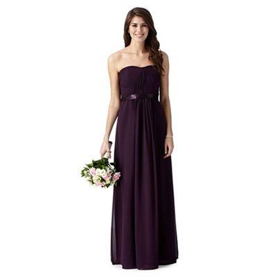 Debut Dark purple ruched maxi dress- | Debenhams