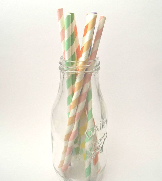 Bright Rainbow Paper Straws Pack // Pastel // Candy Shoppe Party Supplies // by TheSimplyChicShop, $1.92