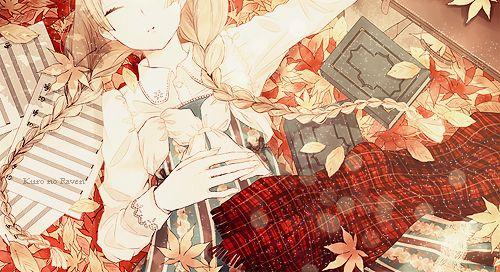 аниме девочка, осень, девушка, иллюстрация, каваи, манга, спать