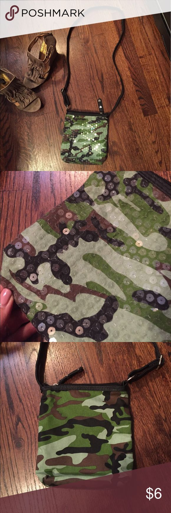 Crossbody Camo Bag w/clear sequin front The clear sequins add a femininity to the green camo bag. Bags Crossbody Bags