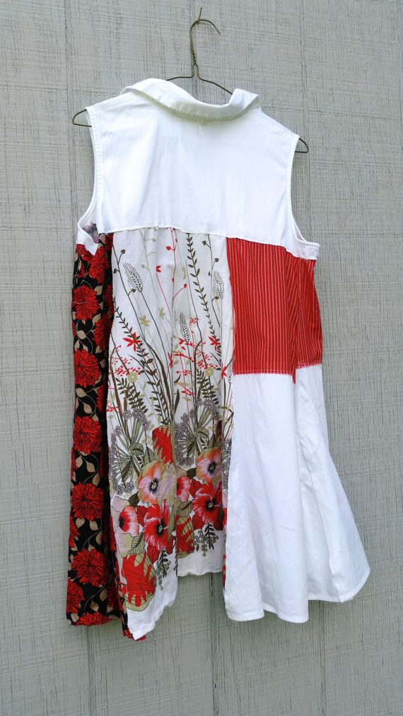 red white floral upcycled Dress / romantic Upcycled / by CreoleSha