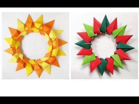 Paper Christmas Wreath -Corona Modular para Navidad - YouTube