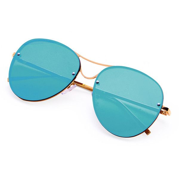 SheIn(sheinside) Rimless Double Bridge Aviator Sunglasses (205 UAH) ❤ liked on Polyvore featuring accessories, eyewear, sunglasses, blue, double bridge sunglasses, blue sunglasses, rimless eyewear, blue glasses and blue aviator sunglasses