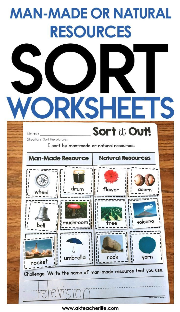 small resolution of Man-made or natural resource sort worksheet - students sort the pictures by  putting the object in…   Fun worksheets for kids