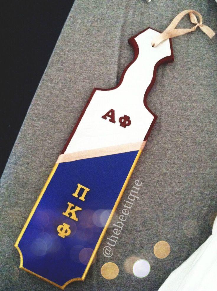 Sorority // Fraternity Paddle Decor! Alpha phi & Pi kappa phi. Greek paddle design for brother sister frat, girlfriend boyfriend, Greek unity ... Easy DIY gift for Valentine's day via thebeetique.blogspot.com #aphi #pikapp
