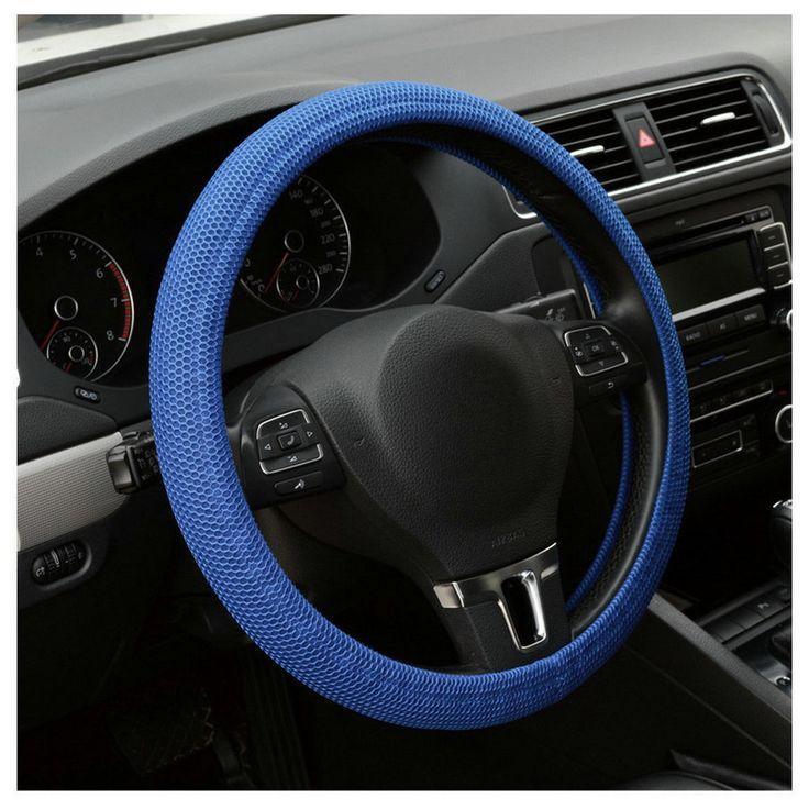 2015 venta caliente Del Coche Auto Universal Hecha A Mano Elástico Antideslizante Cubierta Del Volante Azul/Negro