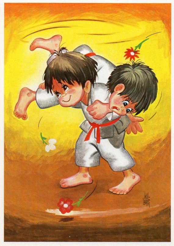 Vintage Postcard Seventies Judo karate Will Berg