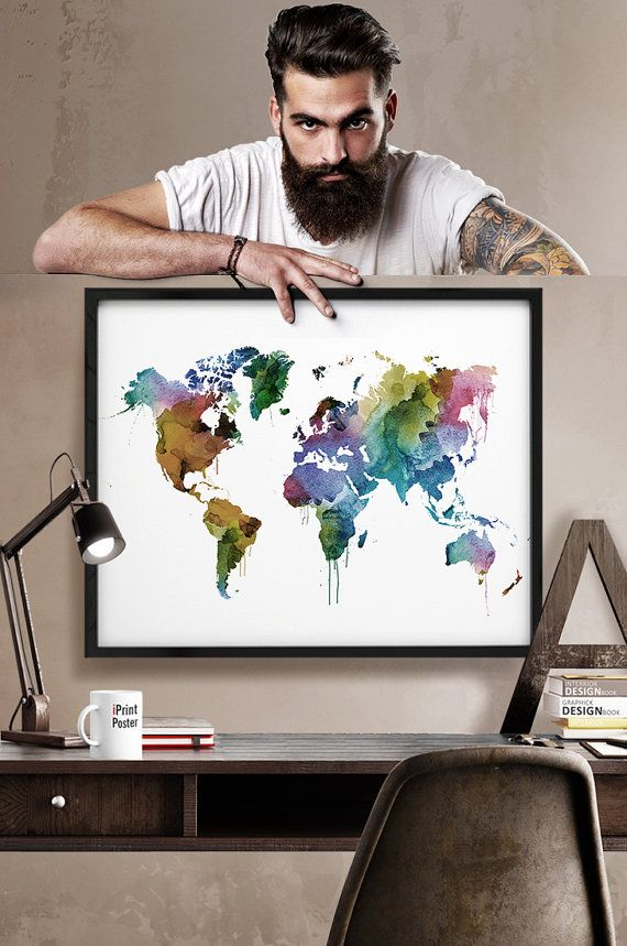 Aqua Large Travel World Map, Digital Printable Map with Watercolor - best of world map fabric etsy