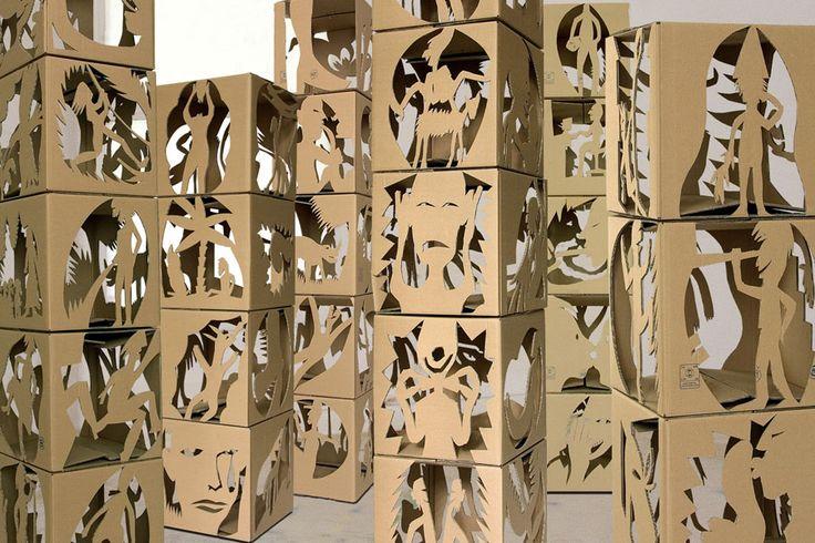Cartons, cardboard cutout installation Musee d'art Moderne de Ceret © Julien Gardair 2002