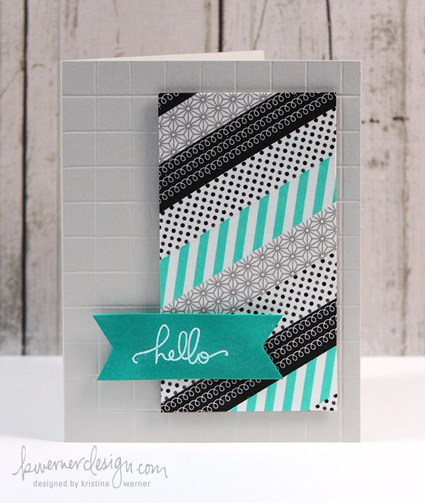 This card uses washi tape and score board to make the grid background.  However, I think it would be a great way to use of fabric or paper scraps.  Plus you can make it look feminine or masculine depending on what patterns you used!