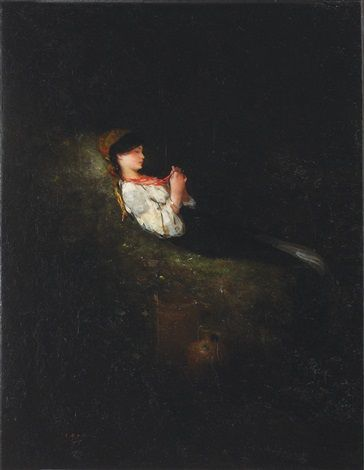 Country girl resting by Nicolae Grigorescu