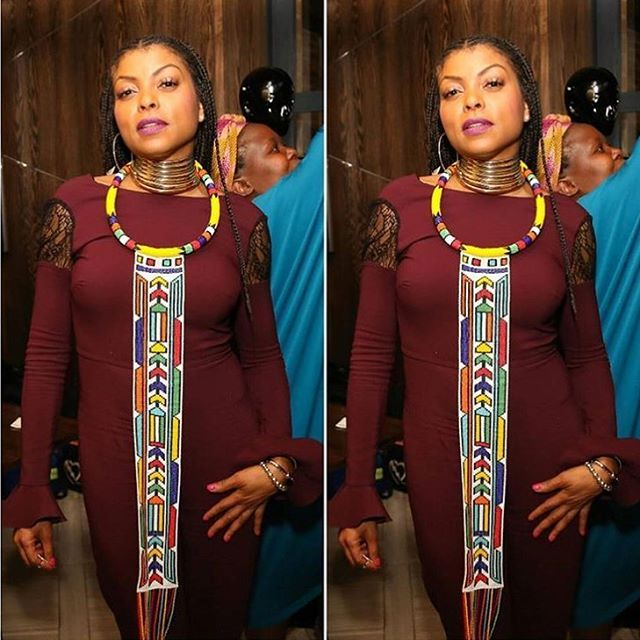 """The """"Lyoness"""" #cookielyon @tarajiphenson and the """"Lyon"""" @theterrencehoward were in #southafrica in support of @aliciakeys #keepachildalivefoundation in #kliptown . @tarajiphenson was gifted with this beautiful accessory from @ntozinhle_accessorize and she rocked it fabulously ! #COUTUREAFRIQUE #fashionnews #blogger #empiresouthafricantour2016 #empirefox #foxtv #actress #cookiemonsters #welovecookie"""