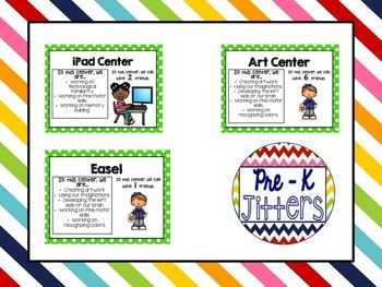 Center Labels include 20 different centers in 8 different colors. These Center Labels include: -Center Labels. -Skills they are practicing in the given center. -Clipart picturing the center. -The amount of children allowed in each center. **If you need any changes to the number