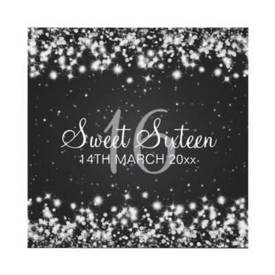 Starry Night Sweet Sixteen Party Winter Sparkle Black