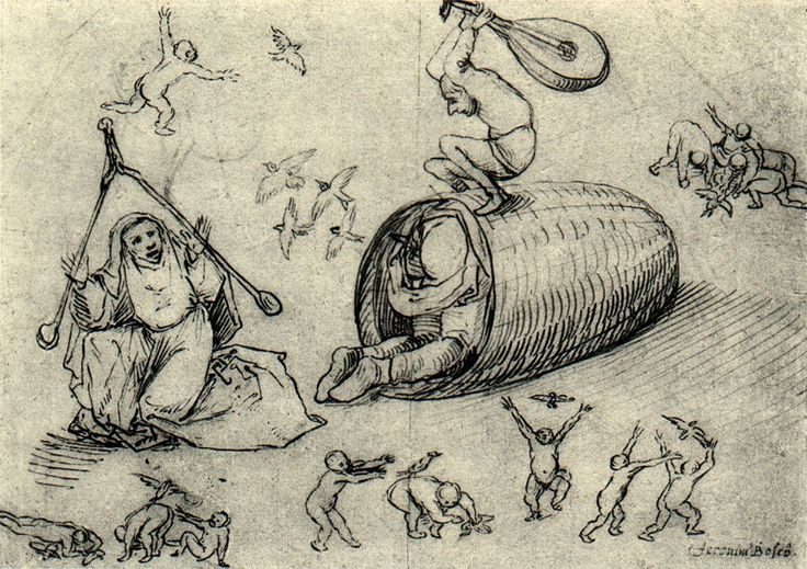 Beehive and witches via Hieronymus Bosch