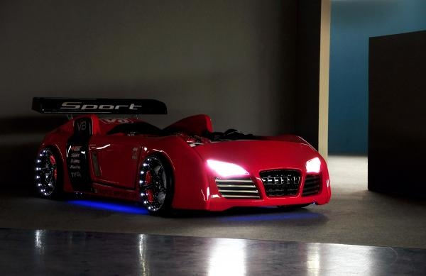 """Car bed, kids bed """"BORA V8"""" in red with LED"""