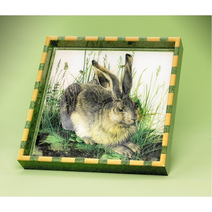 """Love rabbits... As long as they aren't wearing clothes. Have you ever tried to dress a rabbit? It never ends well. (Don't ask!) Decoupage rabbit tray (12"""" sq) $215"""