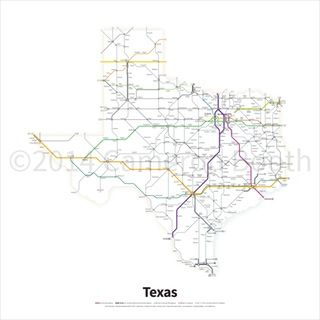 Highway map of Texas done in a transit style by Cameron Booth #map #texas #tx #roads