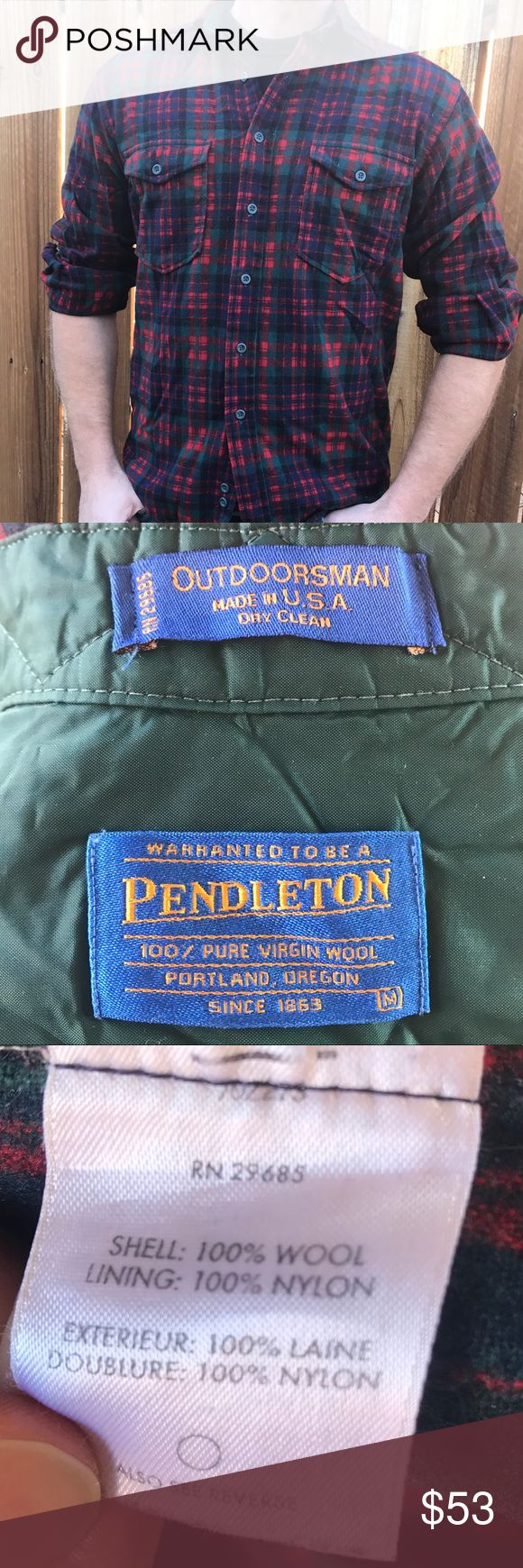 Pendleton Flannel Preowned Outdoorsman Pendleton Flannel size medium good condition. 💯 %wool shell 💯 %nylon lining. Model is usually size Large Pendleton Shirts Casual Button Down Shirts
