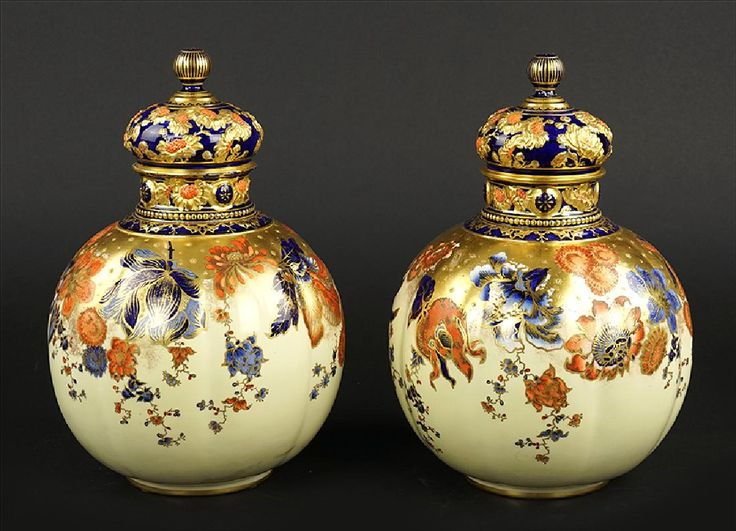 ~ Pair of Royal Crown Derby Gilt Porcelain Covered Jars ~ liveauctioneers.com