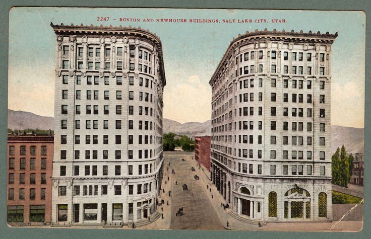 Vintage used postcard boston newhouse buildings salt for Newhouse sheds
