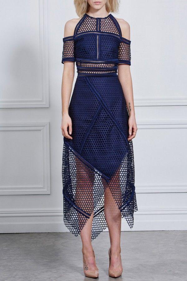 Rachel Gilbert, Fall WInter 2016, Honeywomb Blue Wrap Dress