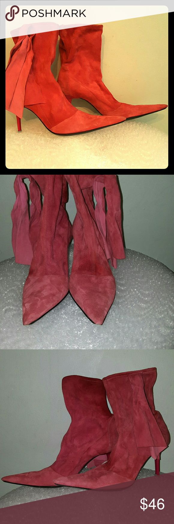"""Les Tropeziennes pink suede size 8 boots 3"""" lacquered heel. Pointy toe. Mix of Man-made and suede. Side ties. Minimal wear to the soles. Some dark marks to the upper, couple of smudges to the heels, see pics. Left boot has a stain at the front. Made in Italy. Les Tropeziennes Shoes Ankle Boots & Booties"""