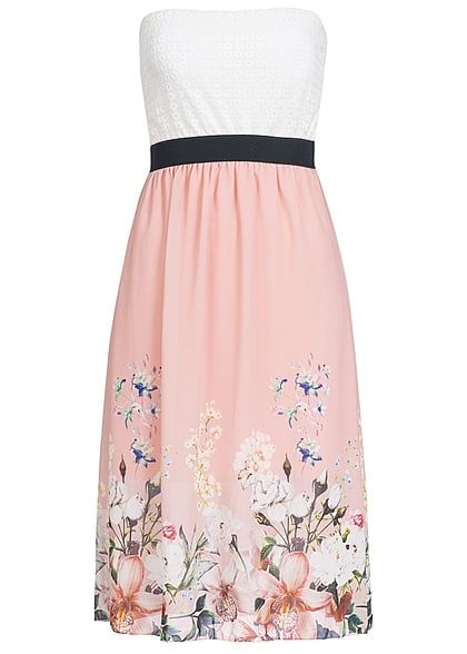Styleboom Fashion Damen Midi Bandeau Kleid Blumen Muster Brustpads Spitze weiss rosa - Art.-Nr.: 17036141