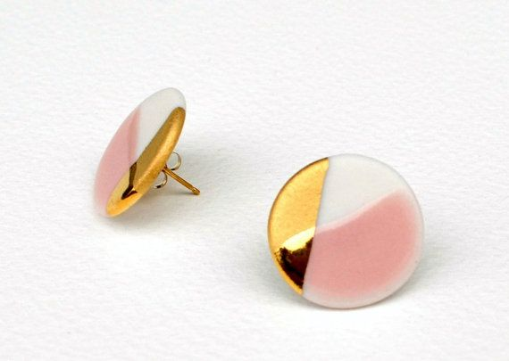 circle porcelain earrings in white and pink, gold dipped