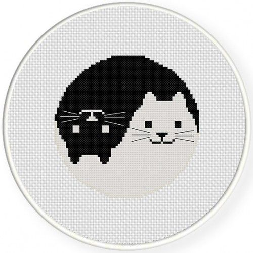 Yin Yang Cat Cross Stitch Illustration.  $1 patterns - love this website.  A lot of very usable patterns.