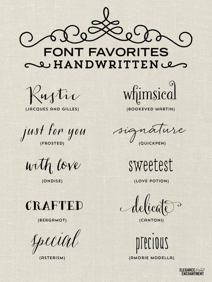 Elegance and Enchantment Font Favorites - Handwritten