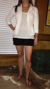 7.11 – Catching up with an old friend in black shorts, white and gray striped shirt, white blazer, and black sandals