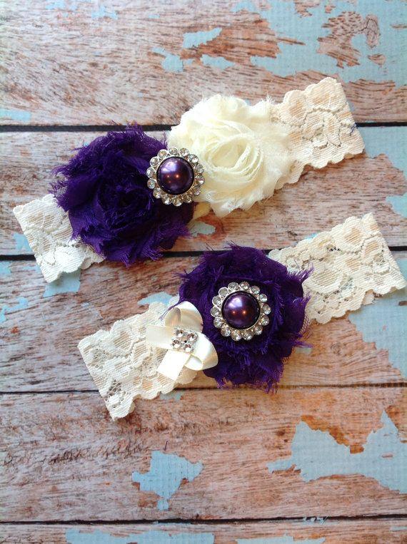DARK PURPLE  wedding garter set / bridal  garter/  lace garter / toss garter included /  wedding garter / vintage inspired