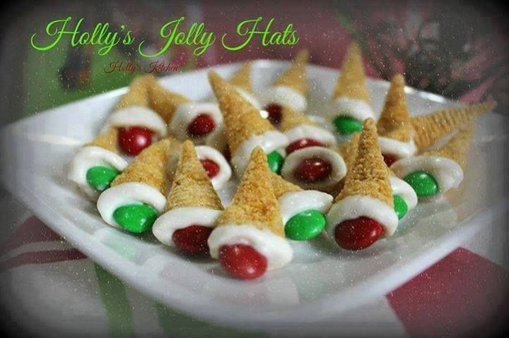 HOLLY'S JOLLY HATS <3  The salt and chocolate snack!!!!! Super easy!! The kids love them!!!!  You will Need White Almond Bark... I used 3 squares Red and Green M&M's Bugle Chips  Melt your almond bark according to package directions Dip the end into white choc. and I scared against the side of the bowl to get the end even..quickly place an M&M into the end of it and set on wax paper to cool and harden. Repeat till you get the desired amount made! Enjoy~  ¨`*•♫.• Thank you for coming to…