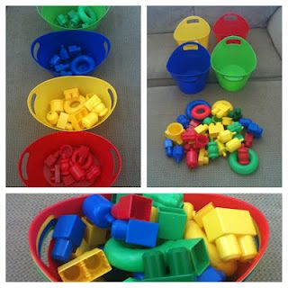 Toddler activity: color sorting with toys