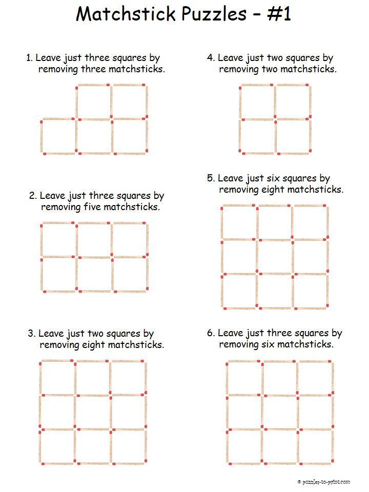 Here is a set of six easy matchstick puzzles to get beginners started on this old time brain teasing opportunity. Free for you to print and the solutions are included.
