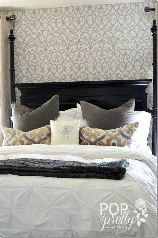 Wallpaper Accent Wall Master Bedroom