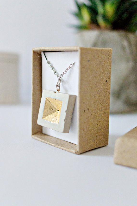 Concrete Jewelry: Concrete Geometric Necklace (invert pyramid square)/Cement Jewelry/ Modern/gold leaf / Minimalist Jewelry/