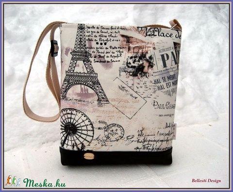 Párizs mintás kis oldaltáska (BellestiDesign) - Meska.hu   #handmade #női #egyedi #divat #táska #design #bellestidesign #woman #fashion #bag #bags #paris #párizs #black #eiffel